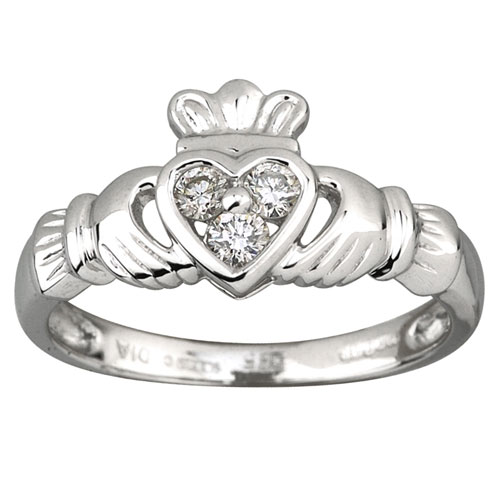 14K-White Gold-Claddagh-3-Diamond-Ring-S2622