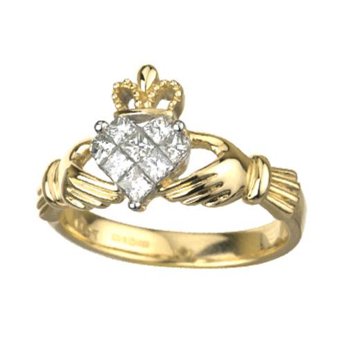 14K Yellow Gold Diamond Claddagh S2714