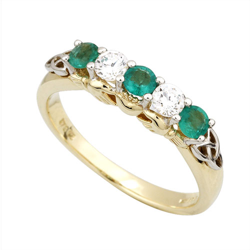 14kt Yellow Gold Diamond and Emerald Claddagh Ring S2916