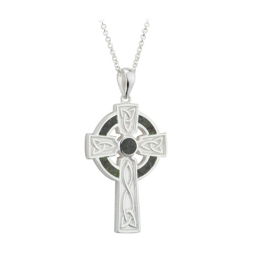 Celtic Cross with Connemara Marble Sterling Silver S46024