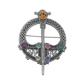 Celtic Tara Brooch Antique Finish Stone Accents Rhodium Plated S1484