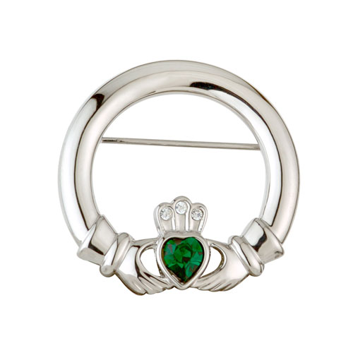 Claddagh Brooch with Crystals Rhodium Plated S1913