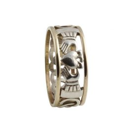 Claddagh Open Weave Ring Large SS 10kt Gold KELKN1L
