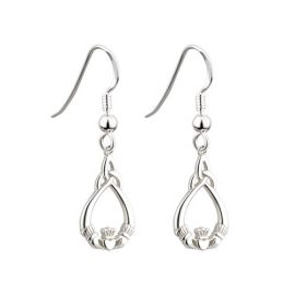 Claddagh Trinity Knot Drop Earrings Sterling Silver S33178