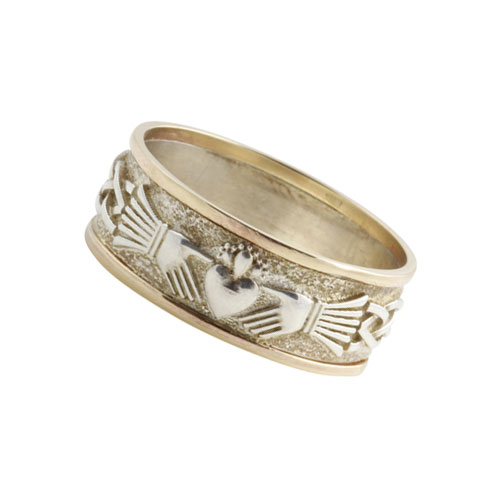 Claddagh Ifinity Knot Ring Large SS 10kt Gold KELGSKN04L