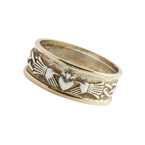 Claddagh Infinity Knot Ring Small SS 10kt Gold KELGSKN04S