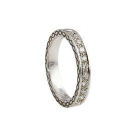 Engraved Infinity Knot Ring w Diamonds 14kt Gold KELKIA01