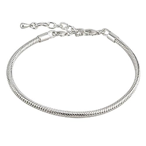 Snake Link Bead Bracelet Sterling Silver S5644