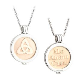 Trinity Knot Coin Pendant Rhodium Rose Gold Plated S45796