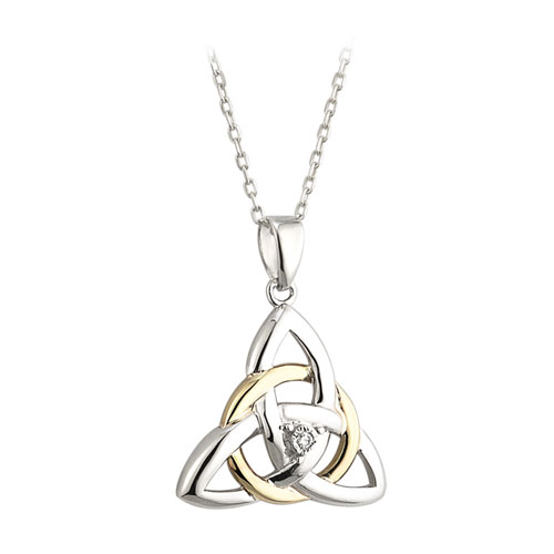 Trinity knot pendant with diamond accent sterling silver 10kt gold trinity knot pendant diamond accent sterling silver 10kt gold s45345 aloadofball Gallery