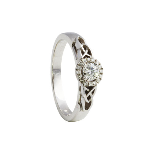 Trinity Knot Round Halo Diamond Ring KELKER09