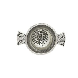 Mini Pewter Thistle Quaich 1.75 Inch QA10T