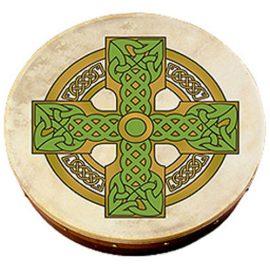 Bodhran-18-Inch-Cloghan-Cross-Design