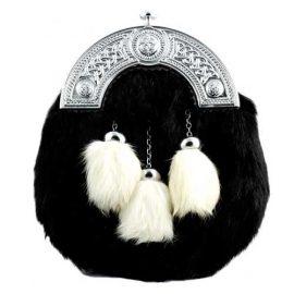 Budget-Dress-Sporran-Black-Rabbit-White-Tassels