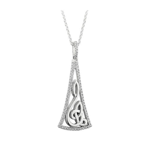 Stylized Trinity Knot Pendant with CZ Accent Sterling Silver S46447