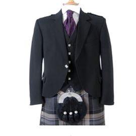 New Scottish Premium Wedding Argyle Black 5 Button Waistcoat 50L Size 36S