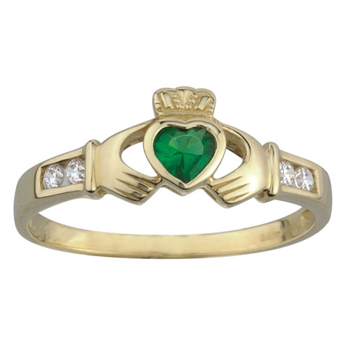 Claddagh 10kt Yellow Gold Ring with Synthetic Emerald – The