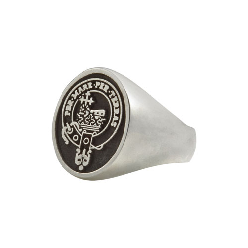 Clan Crested Ring Large Sterling Silver Side CLANPI600