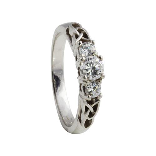 3 Diamond Trinity Knot Ring 14kt Gold KELKER04