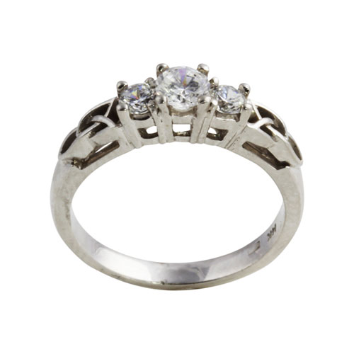 3 Diamond Trinity Knot Ring 14kt Gold Side KELKER04