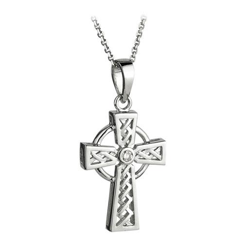 Celtic Cross with Diamond 14kt White Gold S44043