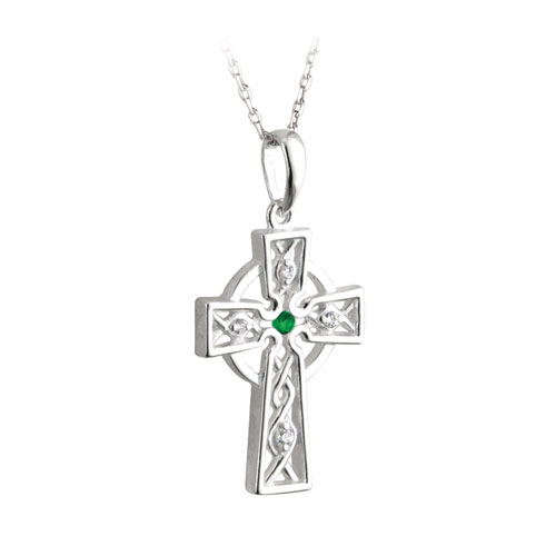 Celtic Cross with Emerald & Cubic Zirconia Sterling Silver S44556