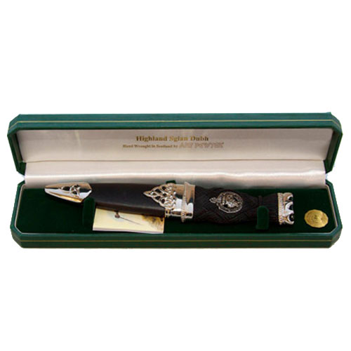Deluxe-Clan-Crest-Polished-Pewter-Skean-Dhu-w-Stone-Top-Boxed