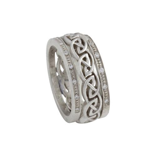 Eternal Knot w Diamond Rails 14kt Gold KELKET07