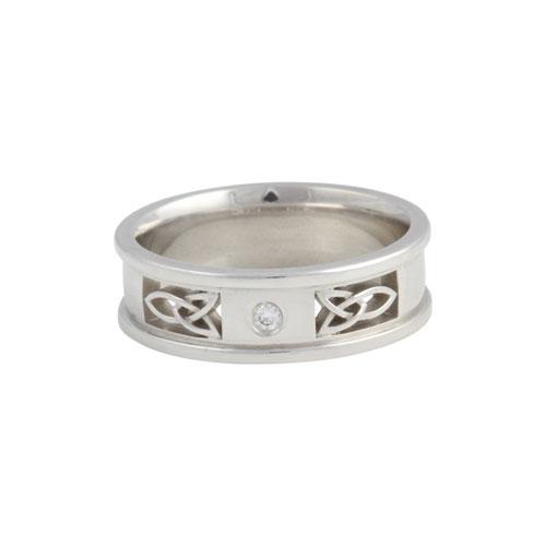 Gents Trinity Knot Insert Ring w Diamond Flat 14kt Gold
