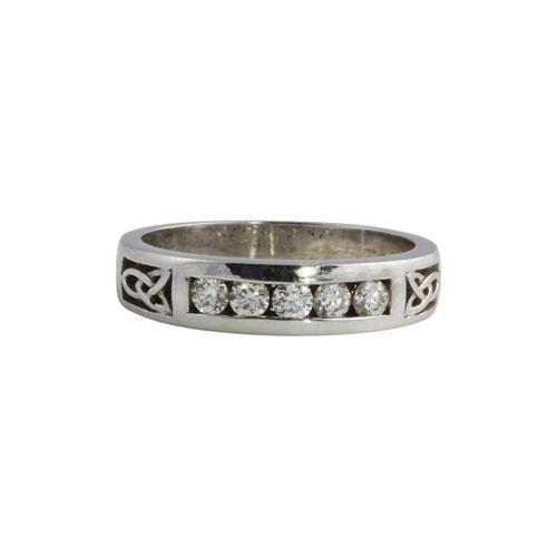 Pierced Trinity Knot Ring w Diamonds Flat 14k Gold