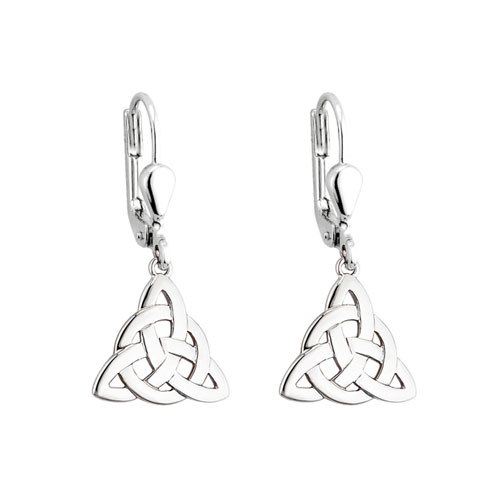 Trinity Knot Circle Accent Drop Earrings Sterling Silver S3694