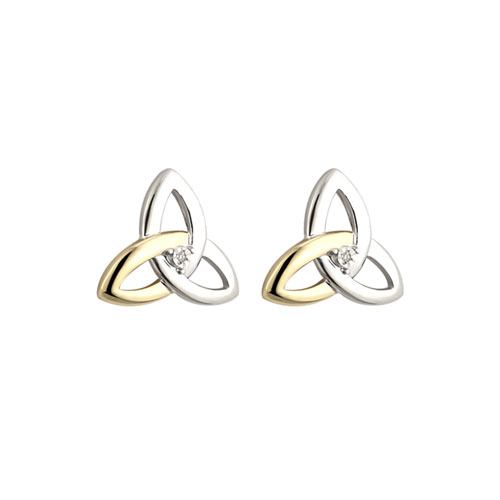 Trinity Knot Stud Earrings Diamond Accent SS 10kt Gold S33416