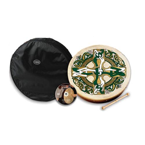 Bodhran-18-Inch-Celtic-Cross-Design-Pack