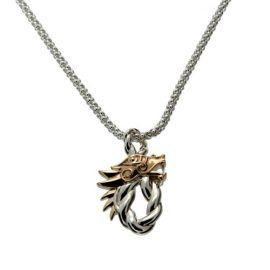 Dragon Head Oval Pendant Silver PPX7358