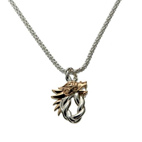 Dragon Head Oval Pendant Silver PPX7358