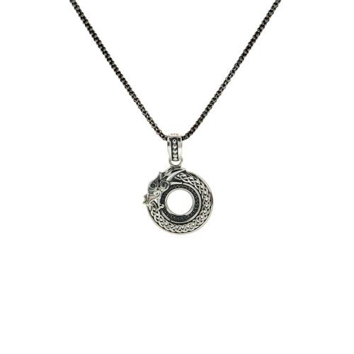 Dragon Pendant Small Silver & Black Cubic Zirconia PPS7264S