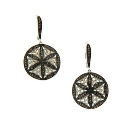 Night and Day Earrings White & Chocolate CZ SS PES1107